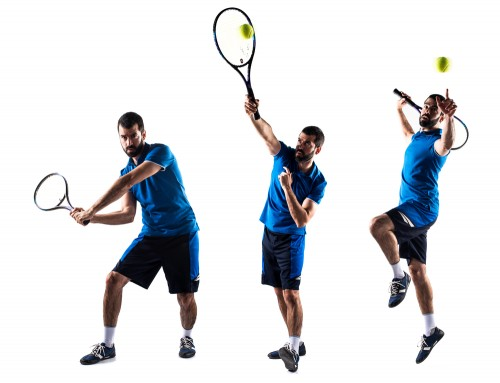 man is shown following through on a tennis serve in three positions